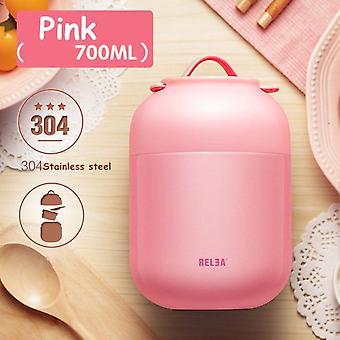 700ml 304 Stal nierdzewna izolowane próżniowo Keep Food Ciepłe szczelne Thermal Lunch Box (Różowy)