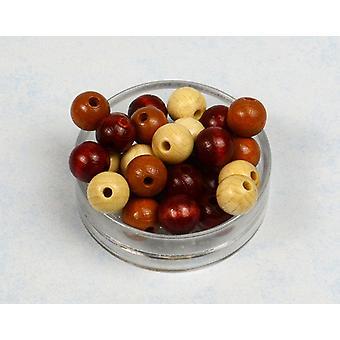 12mm brun Mix træ Threading perler voksne håndværk - 40pk