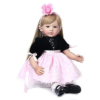 Renace muñeca 60cm de alta calidad princesa niño muñeca renacido muñeca niña con muñeca de pelo rubio ultra largo muñeca de Navidad lindo regalo