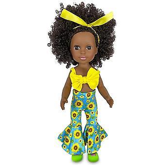 Sort baby pige dukke 14 tommer afrikansk med modetøj og sko sæt perfekt til 3 + år gamle børn