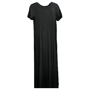 Cuddl Duds Plus Dress Short-Sleeve Maxi Dress Black A373536