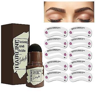 Dark grey 10 stencils eyebrow stamp shaping kit waterproof eyebrow powder stamp fuller eyebrow definer makeup tool lc986