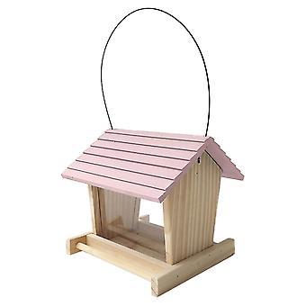 Bird Feeder Dřevěná zahradní dekodér divokých ptáků Dávkovač dřevěných ptáků dům se střechou domácí zahrady