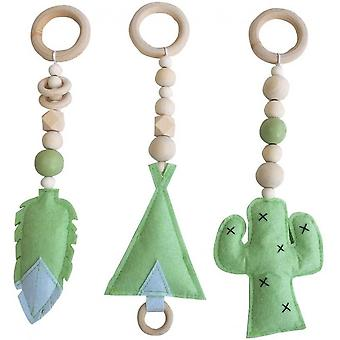 3pcs / Set Rattle Toys Nordic Style Teething Toys, Newborn Baby Wooden Ring Rattle Beads Playhouse Toy Stroller Hanging Toys Newborn Baby Gift B