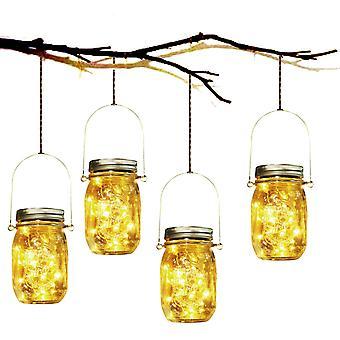Solar Garden Light - 4 kpl Vedenpitävä Aurinkolasi Lyhty Mason Purkki Ulkopuutarha Lyhty Sisä-Ulko makuuhuone Koti Joulu Valaistus Sisustus