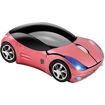 2.4GHz Wireless Mouse Cool 3d Sport Car Forma ergonomice șoareci optice cu receptor USB (roz)