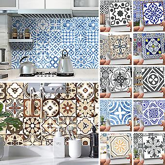 20pcs Modern 3d Floral Mosaic Tile Stickers Self Adhesive Home Wall Decor Murals