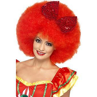 Μεγάλο άφρο περούκα κόκκινο για κλόουν κοστούμι με φιόγκος άφρο περούκα