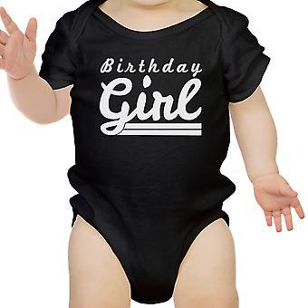 Verjaardag meisje cadeau Baby Romper katoen Black gemakkelijk Snap-On bevestigingsmiddelen