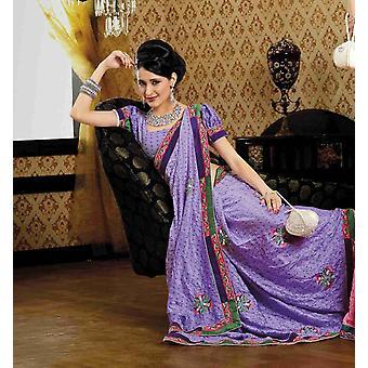 Deepti malva Faux Crepe lusso partito indossare Sari saree