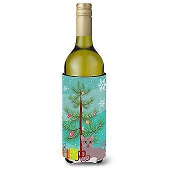 Russian Blue Cat Merry Christmas Tree Wine Bottle Beverge Insulator Hugger