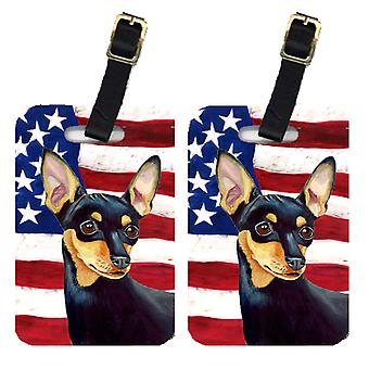 Pair of USA American Flag with Min Pin Luggage Tags