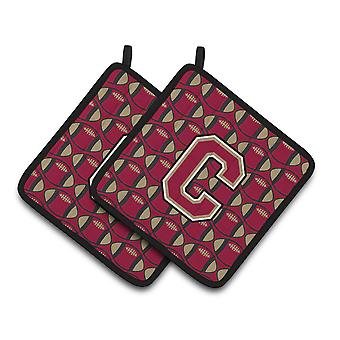 Letter C Football Garnet and Gold Pair of Pot Holders
