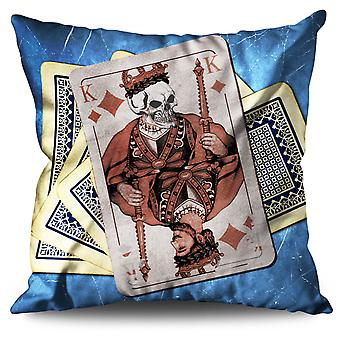 Kings Cards Skull Linen Cushion 30cm x 30cm | Wellcoda