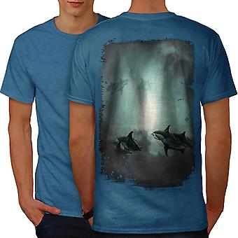 Mystic Ocean Fish Men Royal BlueT-shirt Back | Wellcoda