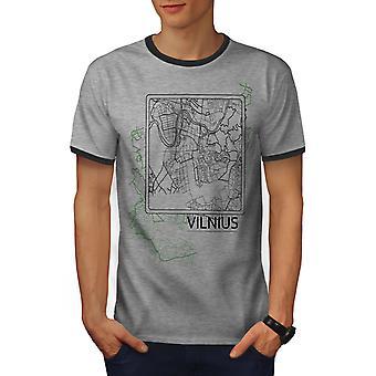 Vilnius City kart mote menn lyng grå / Heather Dark GreyRinger t-skjorte | Wellcoda