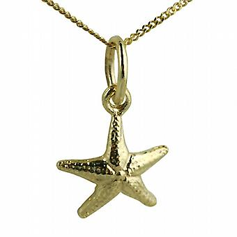 9ct Gold 10x10mm Starfish Pendant with a curb Chain 20 inches