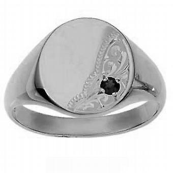 Gümüş 15x13mm el oyma garnet set isolid oval Signet Ring Boyut Z
