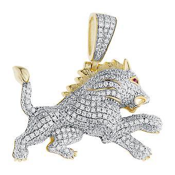 Prémio Bling - ouro de pingente de leão de prata esterlina 925