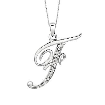 Sterling Silver Rhodium Plated Script Initial Letter F With Diamonds On 18 Inch Chain ( 0.05 Tcw)