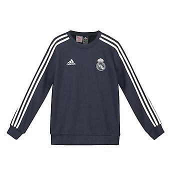 2018-2019 Real Madrid Adidas Sweat Top (Dark Grey) - Kids