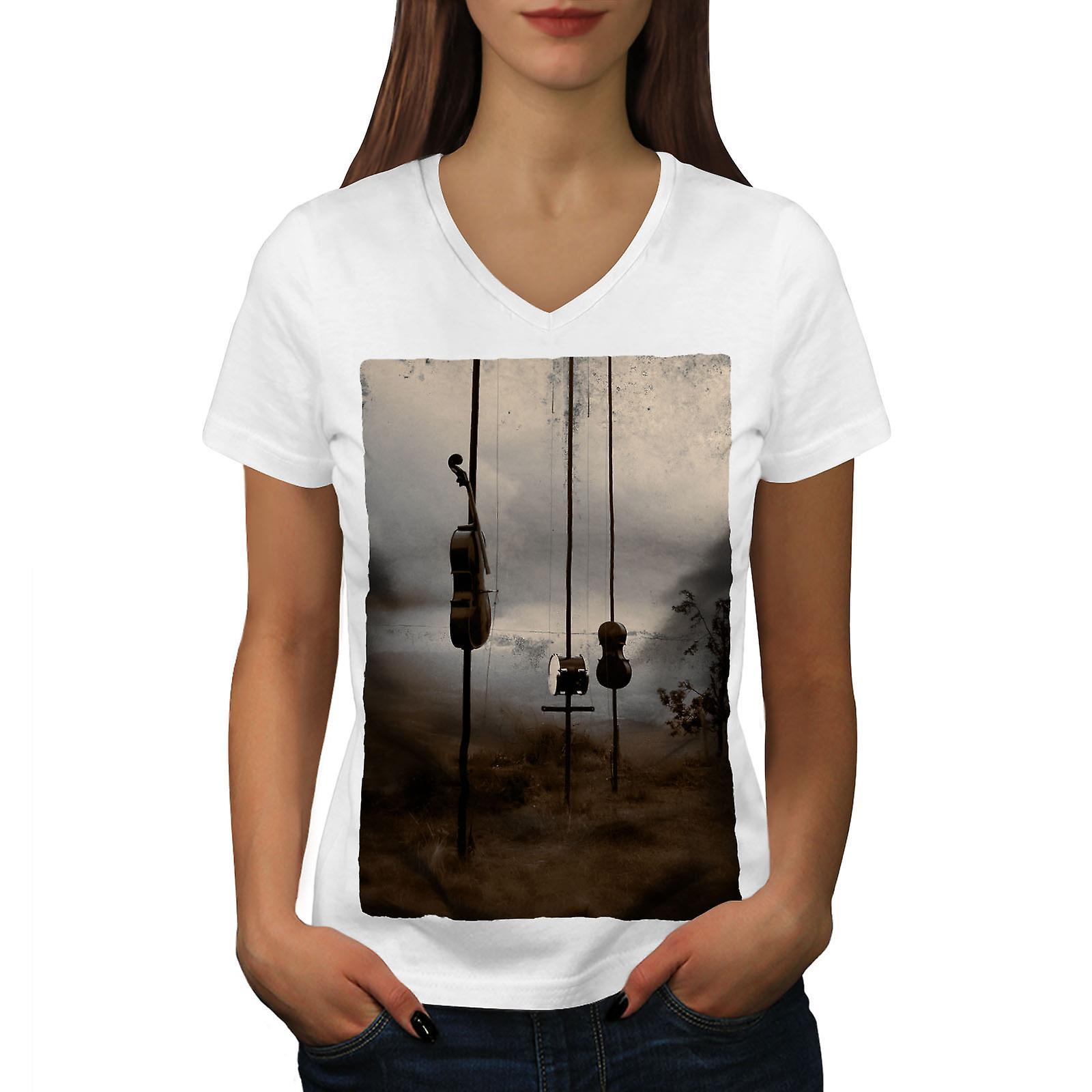 Violon tambour Nature femmes WhiteV-Neck T-shirt | Wellcoda