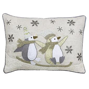 Riva Home Advent Sledging Penguin Cushion Cover