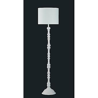 Trio Lighting Hood Authentic White Natural Wood Floor Lamp
