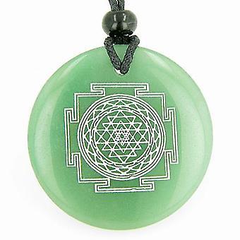 Sri Yantra Chakra Talisman grünen Aventurin Edelstein Zauberkreis Glück Befugnisse Anhänger Halskette