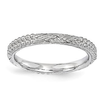 2.5mm 925 Sterling Silver Polished Stackable Expressions Rhodium plated Patterned Ring Jewelry Gifts for Women - Ring Si