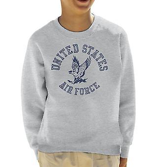 US Airforce Eagle Navy Blue Text Kid's Sweatshirt