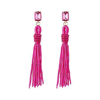 GEMSHINE örhängen rosa fuchsia tofsar Crystal studs guldpläterade örhängen