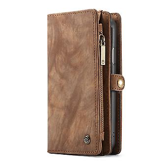 CASEME iPhone XR Retro Split leather wallet Case-brown