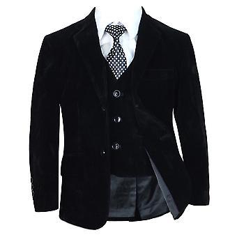 Boys Black Velvet Complete Set Suit