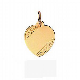 9ct goud 14x14mm hand gegraveerd hart Disc