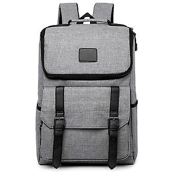 Medium size backpack with faux leather details-grey