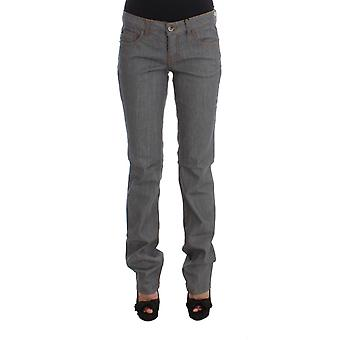 Gray cotton regular fit denim jeans