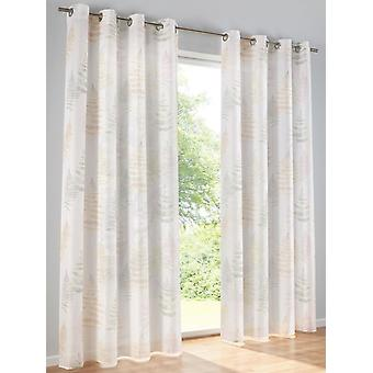 Heine Home 2x Decostore digital print offwhite/taupe eyelets semi-transparent