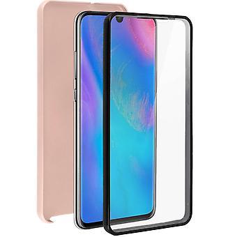 Custodia in silicone + cover posteriore in policarbonato per Huawei P30-oro rosa