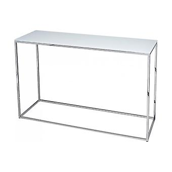 Gillmore White Glass And Silver Metal Contemporary Console Table