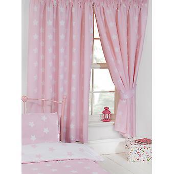 Cortinas forradas de estrellas rosas y blancas