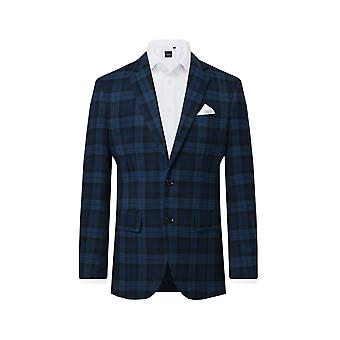 Dobell mens blauwe tartan pak jas regular fit inkeping revers