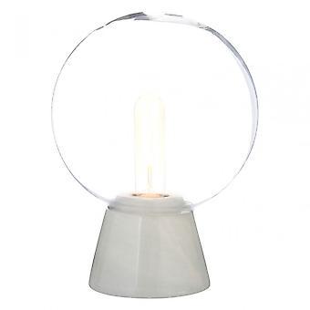Premier Home Lamonte White Marble Base/EU Plug Globe Lamp, Glass, Marble, White