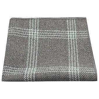 Slate Grey & Blue Birdseye Check Pocket Square, Handkerchief