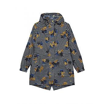 Joules Golightly Womens Printed Waterproof Packaway Jacket - Navy Lilypad Stripe