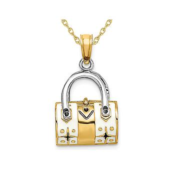 14K Yellow Gold 3-D White Enameled Handbag Moveable Charm Pendant Necklace with Chain