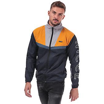 Mens Nicce Motion Windrunner Jacket in Navy Grey Yellow