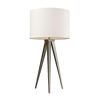 Salford table lamp in satin nickel with off white linen shade - led