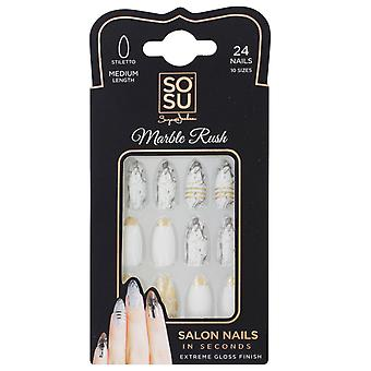 Faux Nails Medium Stiletto Marble Rush by SOSUbySJ