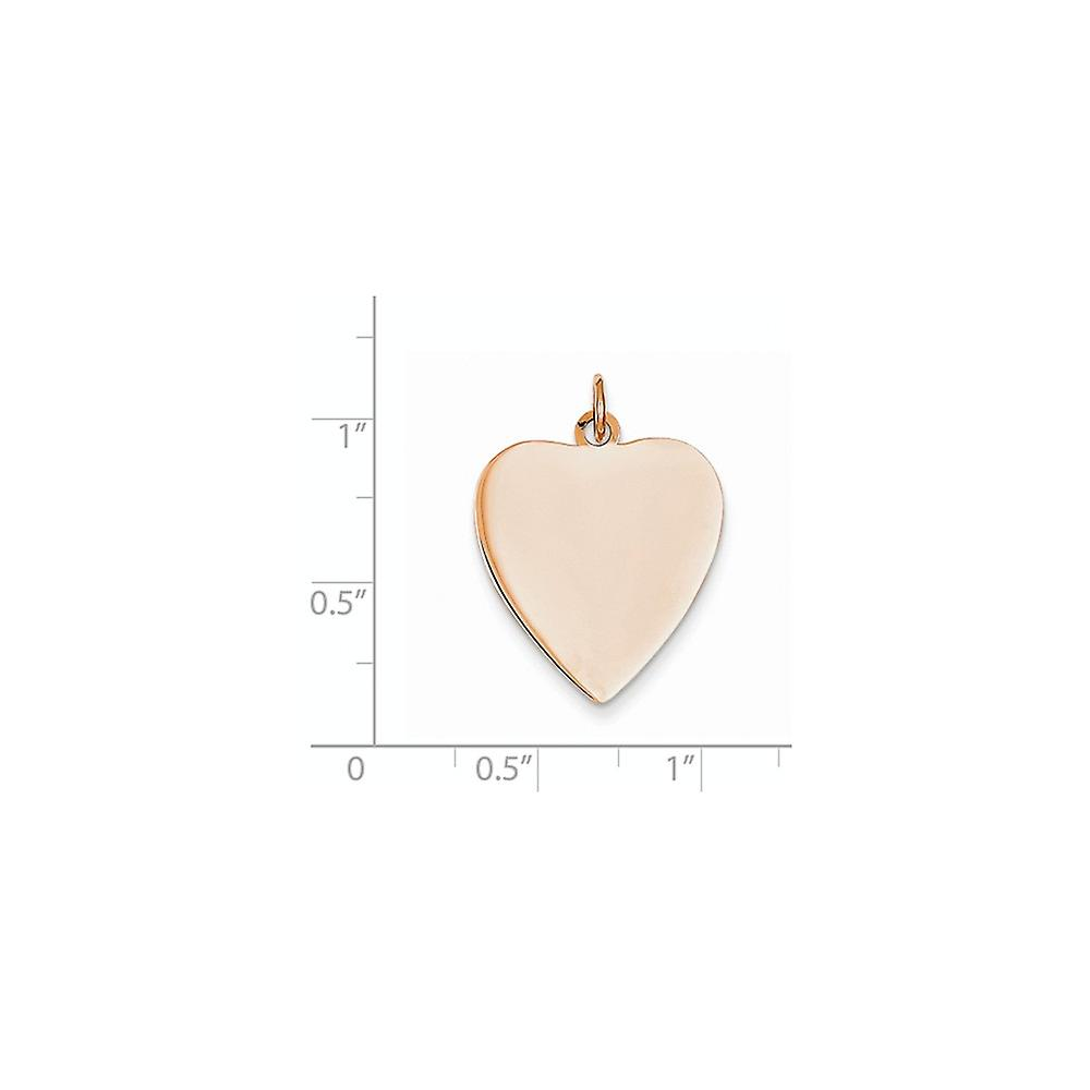 14k Rose Gold Solid Polished Engravable Love Heart Disc Charm Pendant Necklace Measures 19.2x27.2mm Jewelry Gifts for Wo
